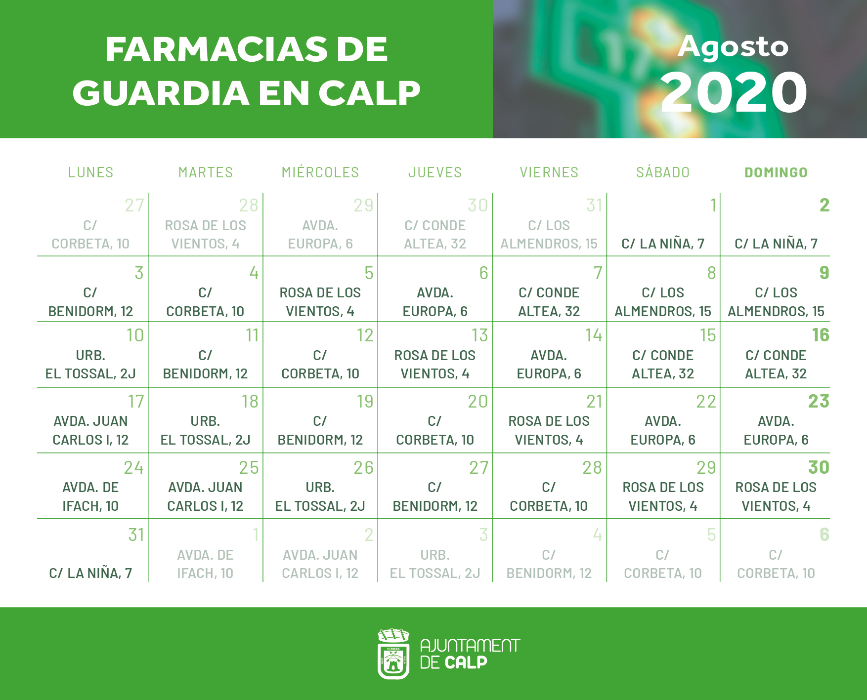 Farmacias Guardia Agosto 2020