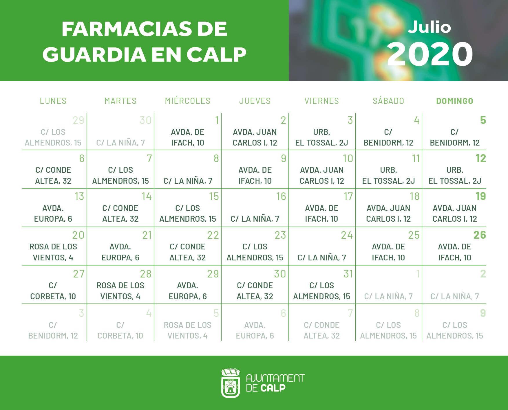 Farmacias de Guardia en Calp